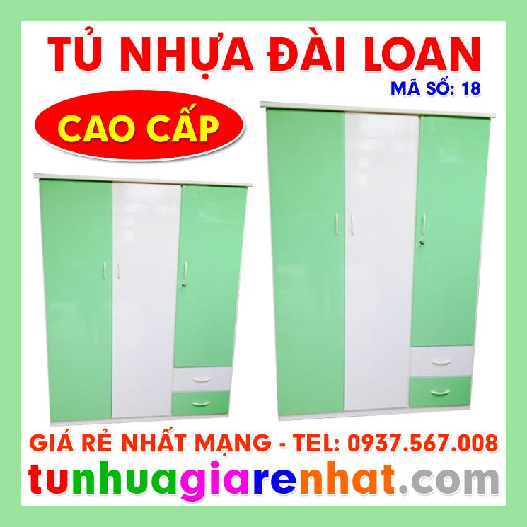 Tủ Nhựa Đài Loan 3 Cánh 2 Ngăn (MS: 18)
