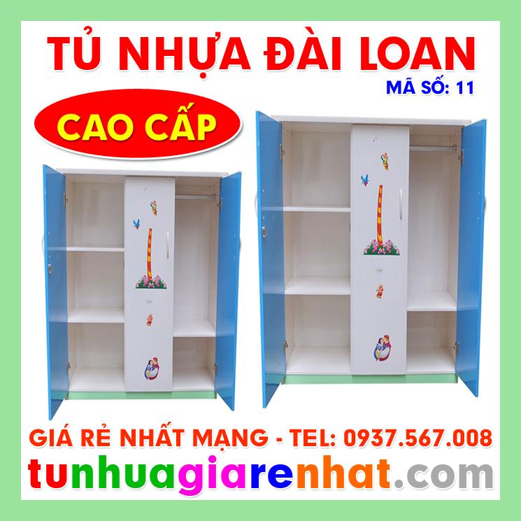 Tủ Nhựa Đài Loan 3 Cánh Xanh Trắng (MS: 11)